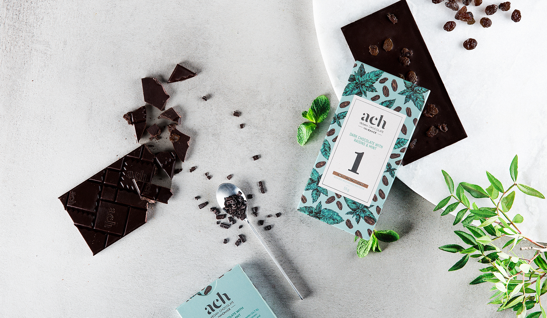 dark vegan chocolate with mint and raisins