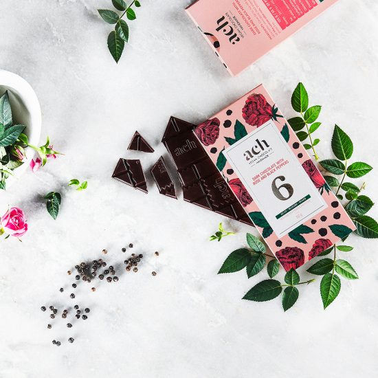Dark chocolate with black pepper and rose blossom leaves
